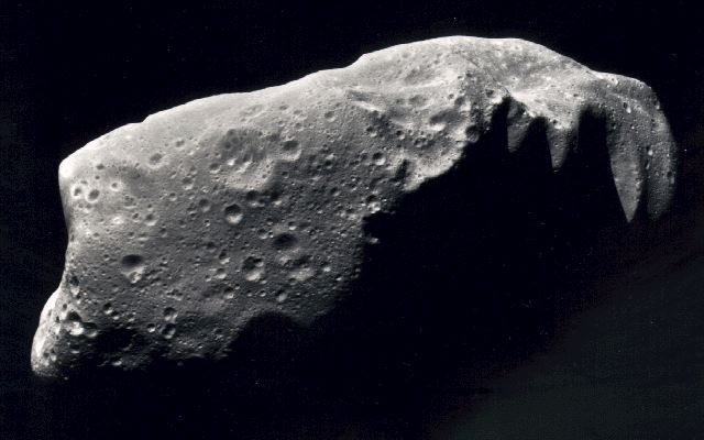 An example of large asteroid named Ida that has been flown by NASA spacecraft.   (image credit: NASA)