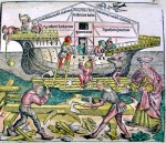 Illustration of the building of Noah's Ark from The Nuremberg Chronicle by Hartmann Schedel (1440-1514)