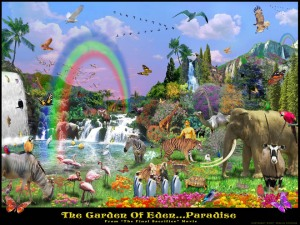 An illustrators impression of the Garden of Eden.  (Image linked to source)