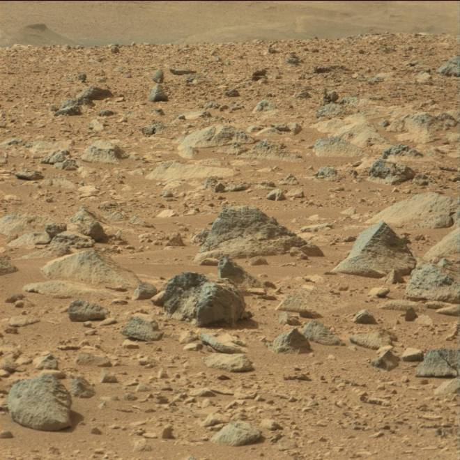 A typical view of the area near the landing point of the Curiosity rover.  Notice the many different colors, textures and shapes of the rocks attesting to a multiple of origins and yet they are mixed together here somewhat haphazardly.  Image Credit: NASA/JPL-Caltech