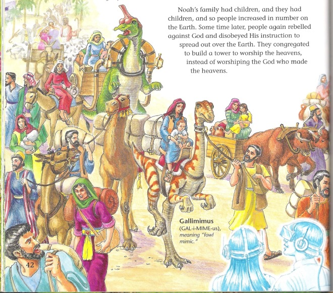"Another image from a page of Ken Ham's ""DInosaurs in Eden.""  In this case we are being shown a scene not only after Eden but after Noah's flood at the time of the tower of Babel.  Here he is depicting friendly Tyranasaurus-like dinosaurs as tamed beasts living in harmony with people. The implication here is that 400 years after the flood dinosaurs where still living with people."