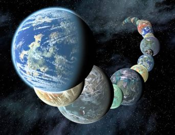 Artist conception of a few of the probably billions of earth-like planets in the Universe.  Planets very similar to the chemical makeup of Earth are likely to be found but will they have any forms of biological life?  That is the big question.