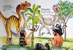 "An scan of a page from Ken Ham's ""Dinosaurs in Eden"" book. Here we can see Tyranosaurus-like dinosaurs with small arms enjoying a diet of flower plants."