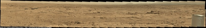 large panorama of sticked together images from Curiosity.