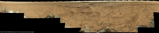 Another panorama from inside Gale Crater. This time taken from inside the basin/depression that was seen in the image above.  Please click to view in all its spectacular detail.  Again, this image is a combination of 100s of images stitched together carefully by Damion Bouic.  Credit:  NASA/JPL-Caltech/MSS/DamionBouic