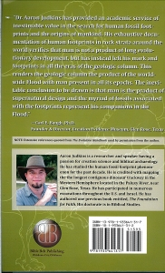 "The back cover of ""Evolution and Human Fossil Footprints"" by Aaron Judkins. Click to see large image where your can read Baugh's endorsement and Judkins description of himself."