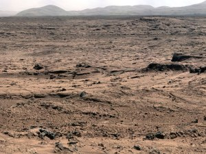 The landscape of Mars as seen by the Curiosity Rover in February 2013.  Image credit: JPL/CatTech/NASA
