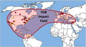 Range of sites for which the spherules are found at YDB onset.