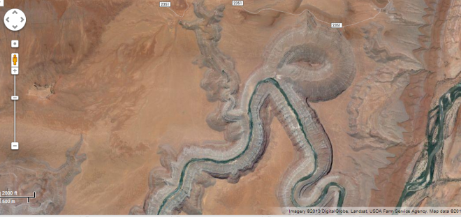 Google maps screenshot showing a piece of the San Juan River in Utah.  You can clearly see a piece of the old river path that has been cut off after a particularly sharp