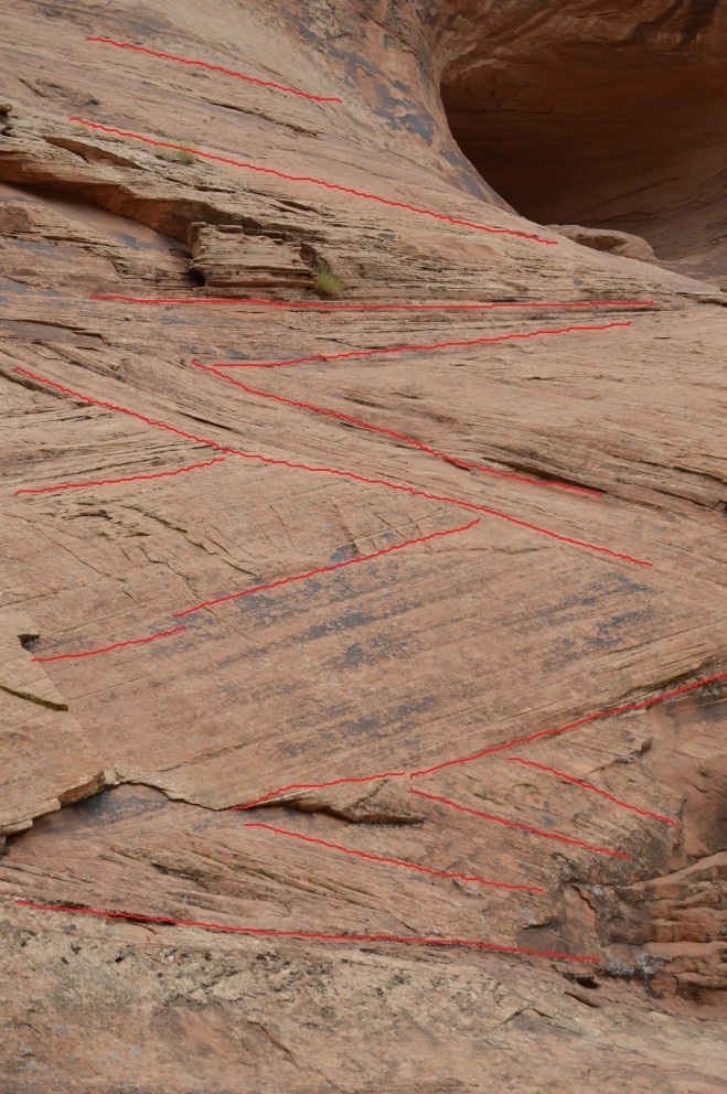 Sandstones on the trail to Corona Arch just west of Moab UT in the Navajo Sandstone formation.  I have drawn red lines to show the different directions that the layers of sand were deposited.  Photo credit: Joel Duff