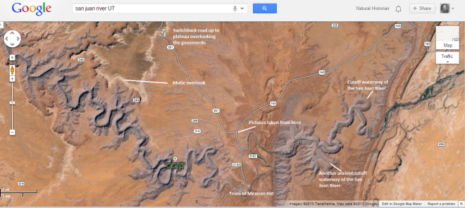 Image capture of Google maps of the San Juan River region of southeastern Utah.  I have noted places where I visited and took pictures of this summer.