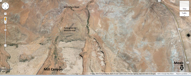 Screenshot of Google Maps of the Mill Canyon are just north of Moab UT.  The Mill Canyon Dinosaur Trail starts at the parking lot indicated on the map.