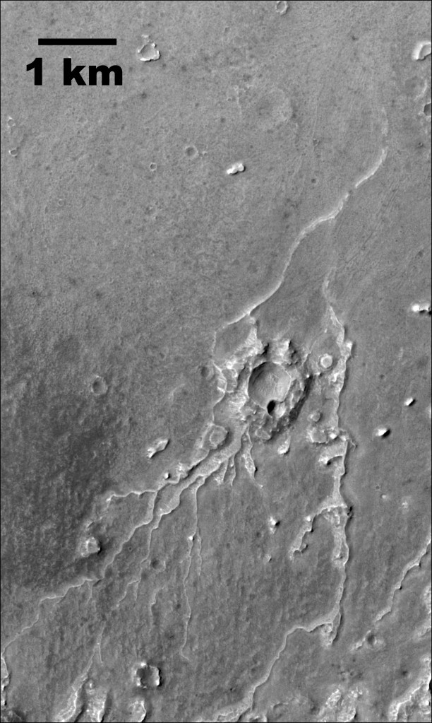 An inverted ancient river on Mars? Subscene of CTX image P01_001377_1887_XN_08N076W_061111 of branching ridge network located on Lunae Planum. The dendritic pattern, low junction angles, as well as the number and spacing of low order tributaries are all evidence of a fluvial origin to the landform..