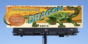 A billboard advertising the new dragon exhibit at the Creation Museum.