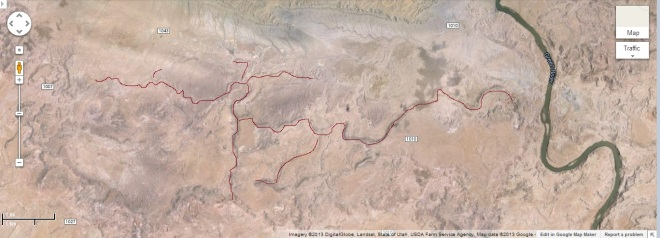 "Google screenshot of area south of Green River UT.  I have highlighted some of the ""fossil"" rivers from the area.  Below I show closer shots of these ancient rivers."