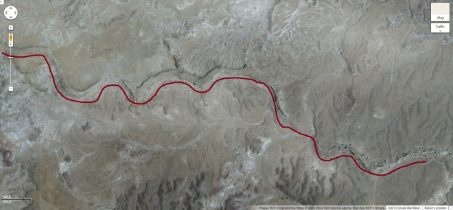 Screenshot of the area southwest of Green River UT where ancient remnants of rivers are found. These are called paleochannels.  I have added a maroon line to indicate where this ancient river once ran.
