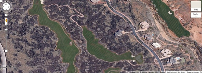 A golf course among lava fields west of St. George UT.   Google is a registered trademark of Google Inc. and used with permission.