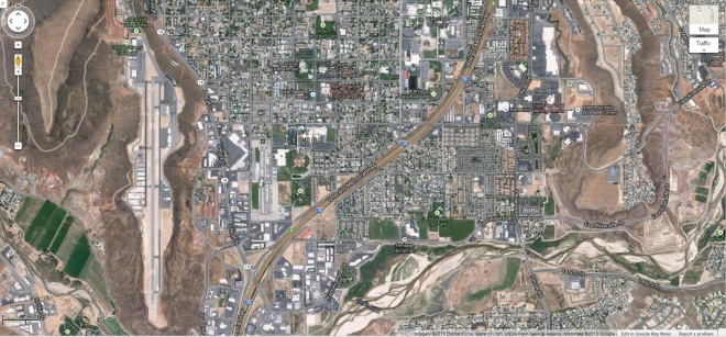 Google maps screenshot of St. George UT.  There are three flat topped hills here in this area one of which has been used as an airport.  Google and the Google logo are registered trademarks and are used here with permission.