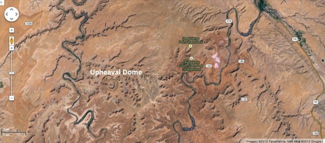 Google maps screenshot of upheaval dome are in Utah.  We also visited Dead Horse State Park on the same day.