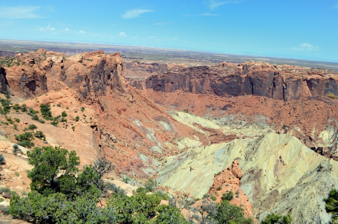 The southern portion of the crater showing the hard sandstone walls that are raised in  elevation compared to the surrounding region and then the lighter colored rock that represents material from much deeper in the earth that is protruding up here. Photo: Joel Duff