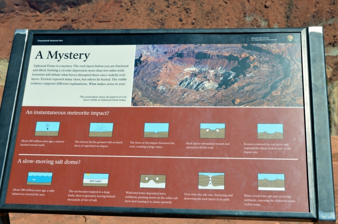 An interpretive sign that greet visitors on arrival at the first upheaval dome overlook.