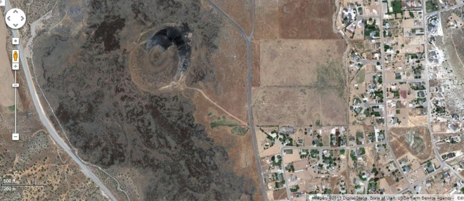 The ??? volcano north of St. George UT.  Google maps screenshot.  Google and the Google logo are registered trademarks of Google Inc. and are used with permission.