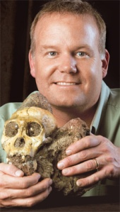 Professor Lee Berger holding his most famous fossil find, a crania of Austripithicus sebida. This fossil was found not far from the current location of the