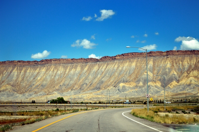 "The ""bookcliffs"" overlooking Grand Junction Colorado.  I took this from the front windshield just before getting on I70.  Photo: Joel Duff"