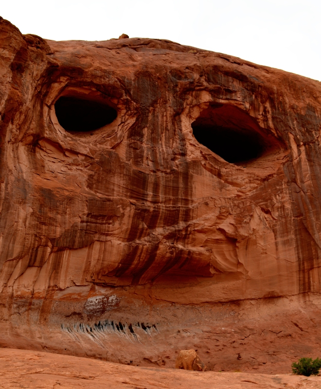 Desert varnish on sandstone walls just to the east of Corona Arch near Moab UT.  I Iiked this image because it looks like a face.  Image credit: Joel Duff