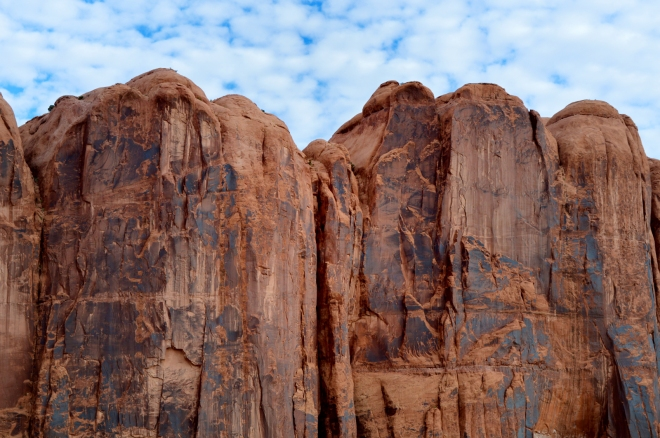 Sandstone cliffs overlooking the Colorado River just west of Moab UT.  Photo: Joel Duff