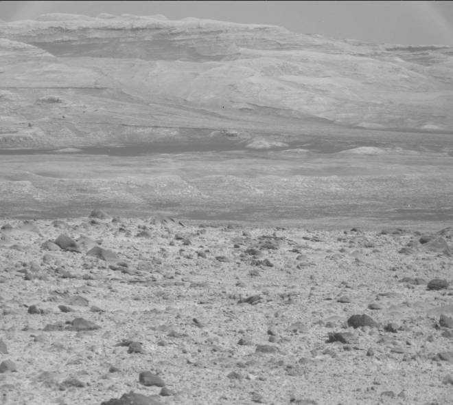 This picture was taken two days ago by the Curiosity rover. In the distance is the hopeful destination.  This area is where scientists believe an ancient lake once was.  There should be a lot to look at and test when they get there.  Image: JPL/NASA-CalTech