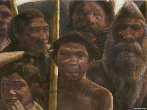 Artistic depiction of Homo heidelbergensis hominids whose bones are found in The Pit of Bones. Photo: Javier Trueba, Madrid Scientific Films
