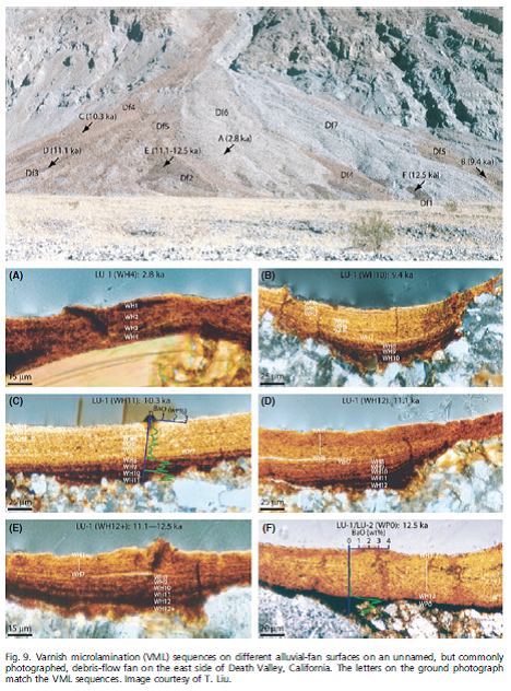 From: Dorn, R. I. (2009), The Rock Varnish Revolution: New Insights from Microlaminations and the Contributions of Tanzhuo Liu. Geography Compass, 3: 1804–1823. doi: 10.1111/j.1749-8198.2009.00264.x. Shows an alluvial fan in Death Valley and varnish on rocks from various rocks collected on the surface of that fan. :   http://alliance.la.asu.edu/dorn/GeographyCompass_09.pdf