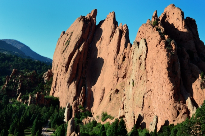 Sandstone fins stand in the Garden of the Gods park in Colorado Springs, CO.