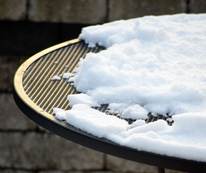 A close-up of the snow on top of our patio table.  How did it get this way?  Image credit: Joel Duff