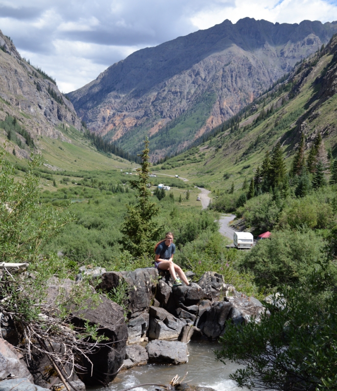 My daughter hanging out in Cunningham Gulth near Silverton CO in July of 2013. Photo: Joel Duff