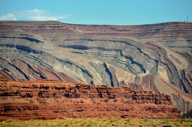 Geology from the side of the road at Mexican Hat, UT. Intersection of SR261 and US Highway 163 looking East at where the San Juan River makes it way through the Raplee Anticline.