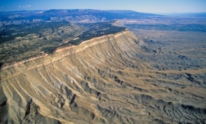 Arial view of the Book Cliffs north of Grand Junction Colorado
