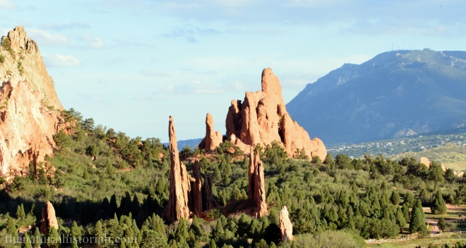 "Vertical sandstone ""fins"" at Garden of the Gods park in Colorado Spring, CO."