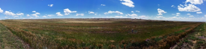 Panoramic shot taken with my phone camera just north of Cheyenne Wyoming.