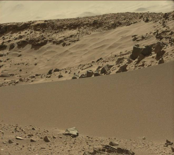 The sand dune at dingo gap.  Image  from sol 527. Credit: JPL/NASA/MSSS