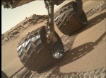 Curiosity rover wheels after rolling into a portion of a sand dune (sol 527).  Image: JPL/NASA/MSSS