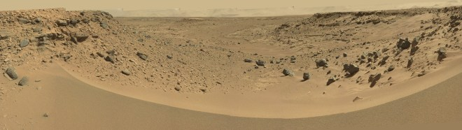 "The view from ""dingo gap"" by the Curiosity rover in Gale crater on Mars.  This image was stitched together by Emily Lakdawalla from images available from NASA/JPL/Caltech on sol 528 (Jan 28, 2014).  You need to click on this image to see the full size! Visit Lakdawalla's blog."
