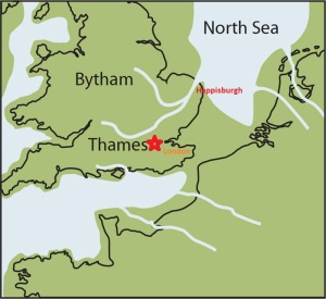 Map of Britain long ago during low ocean level. The former location of the River Thames. Currently it  discharges after going by London but in the past it went 60 miles to the North discharging in the area near this fossil site.