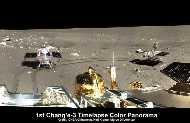 Panorama of moon taken by Chang'-e-3 Chinese lander.   Credit on image caption.
