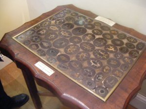 Buckland's coprolite table.  Cut coprolites have been polished to produce this table top.  The table resides in the Lyme Regis Museum.  Image from: http://subhumanfreak.blogspot.com/2009/08/sea-dragons-of-avalon.html