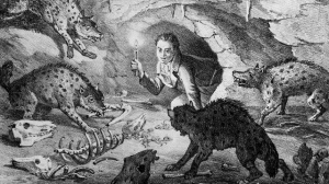 An interpretive drawing of William Buckland crawling into Kirkdale Cave where he found extinct cave hyenas and the remains of their prey. Drawn by Buckland's friend William Conybeare.