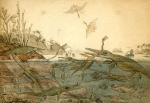 Duria Antiquior - A more Ancient Dorset is a watercolour painted in 1830 by the geologist Henry De la Beche based on fossils found by Mary Anning, and was the first pictorial representation of a scene from deep time based on fossil evidence.  Image: Wikipedia