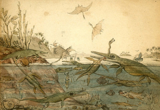 Duria Antiquior - A more Ancient Dorset is a watercolour painted in 1830 by the geologist Henry De la Beche based on fossils found by Mary Anning, and was the first pictorial representation of a scene from deep time based on fossil evidence.