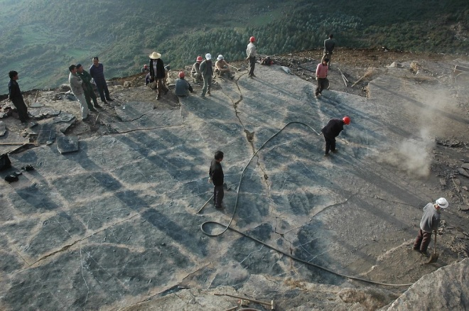 Excavation site of Nothosaur fossil tracks in China.   Image from Center of China Geological Survey